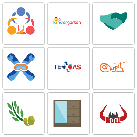 Set Of 9 simple editable icons such as bull horn, wardrobe, olive leaves, carpet, texas, snowboard, hand shaking, kindergarten, 3 people, can be used for mobile, web
