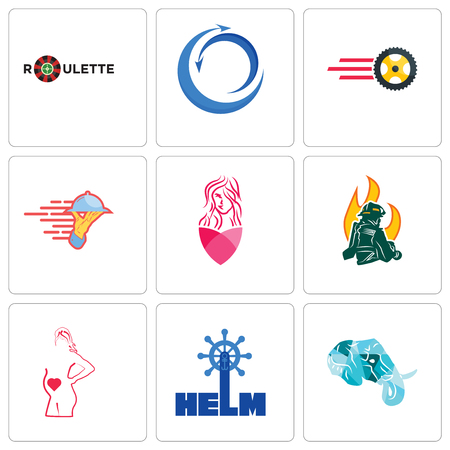 Set Of 9 simple editable icons such as elephant head, helm, maternity, firemen, salon, catering services, tire business, import export, roulette, can be used for mobile, web