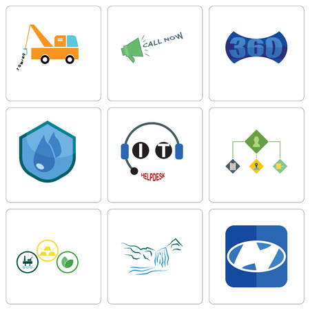 Set Of 9 simple editable icons such as h, waterfall, commodities, order management, it helpdesk, water resistant, 360 image, call now, tow truck, can be used for mobile, web