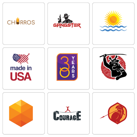 Set Of 9 simple editable icons such as sparta, courage, cubic, 30 year, made in usa, rising sun, gangster, churros, can be used for mobile, web