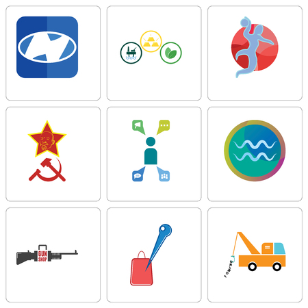 Set Of 9 simple editable icons such as tow truck, store locator, gun shop, aquarius, campaign management, communism, handball, commodities, h, can be used for mobile, web