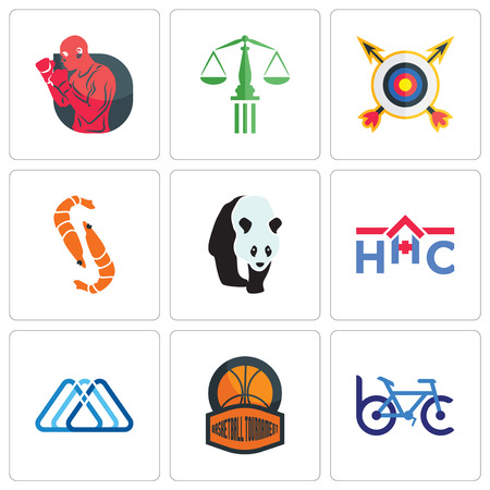 Set Of 9 simple editable icons such as bike club, basketball tournament, 3 triangle, home health care, shrimp, archery, scales of justice, boxer, can be used for mobile, web Illusztráció