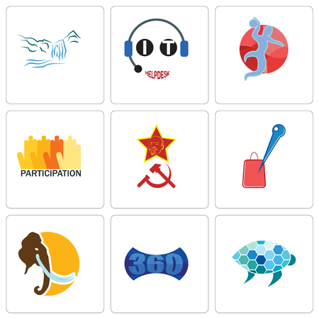 Set Of 9 simple editable icons such as sea turtle, 360 image, mammoth, store locator, communism, participation, handball, it helpdesk, waterfall, can be used for mobile, web
