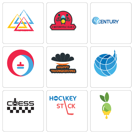 Set Of 9 simple editable icons such as olive oil, hockey stick, chess, logistics company, happy thanksgiving, heating cooling, century, motorcycle club, three triangle, can be used for mobile, web Stock Illustratie