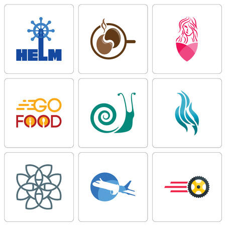 Set Of 9 simple editable icons such as tire business, aeroplane, celtic knot, flame, snails, go food, salon, coffe, helm, can be used for mobile, web