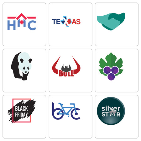Set Of 9 simple editable icons such as silver star, bike club, black friday sale, grape leaves, bull horn, hand shaking, texas, home health care, can be used for mobile, web Stock Vector - 102146155