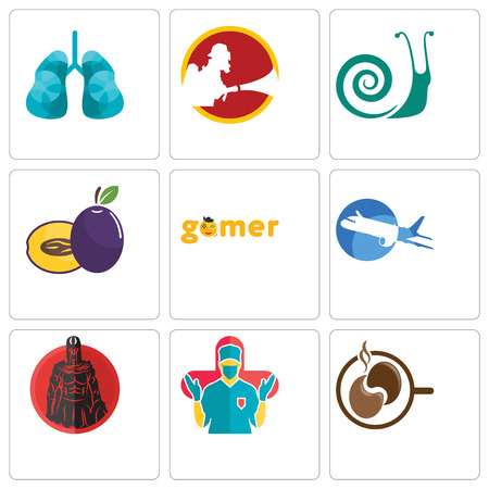Set Of 9 simple editable icons such as coffe, surgeon, spartan, aeroplane, gamer, plum, snails, lungs, can be used for mobile, web