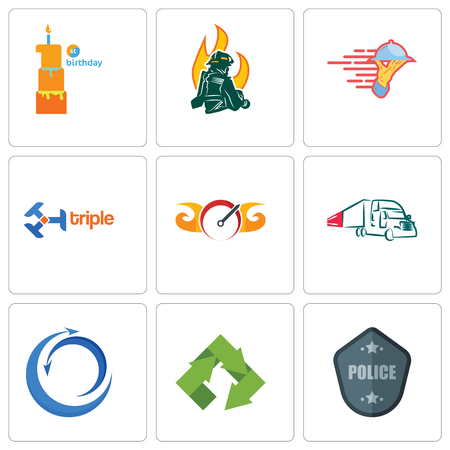 Set Of 9 simple editable icons such as police badge, recycle, import export, truck company, speedometer, triple, catering services, firemen, first birthday, can be used for mobile, web