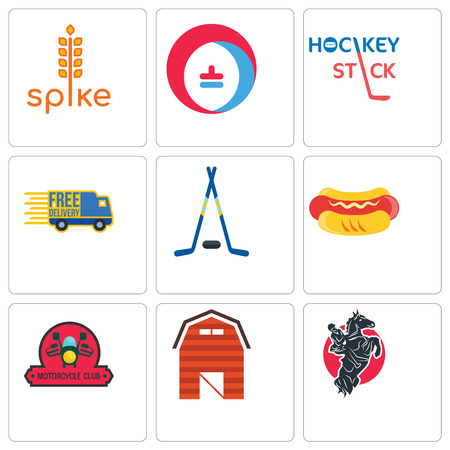 Set Of 9 simple editable icons such as equestrian, barn, motorcycle club, hot dog, hockey sticks, free delivery, stick, heating cooling, spike, can be used for mobile, web