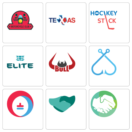 Set Of 9 simple editable icons such as hands shaking, hand heating cooling, fishing hook, bull horn, the elite, hockey stick, texas, motorcycle club, can be used for mobile, web