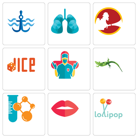 Set Of 9 simple editable icons such as lollipop, lips, chemical company, lizard, surgeon, dice, lungs, navy anchor, can be used for mobile, web Vectores