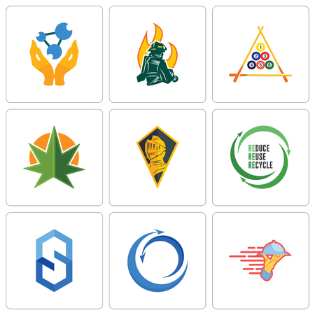 Set Of 9 simple editable icons such as catering services, import export, s hexagon, uce reuse recycle, knight head, weed leaf, billiard, firemen, chemist, can be used for mobile, web