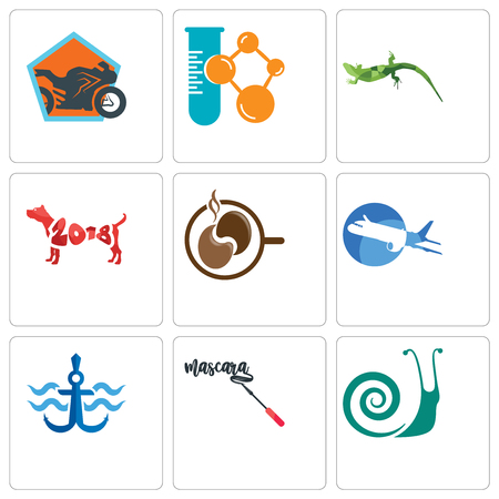 Set Of 9 simple editable icons such as snails, mascara, navy anchor, aeroplane, coffe, year of the dog, lizard, chemical company, motorcycle shop, can be used for mobile, web