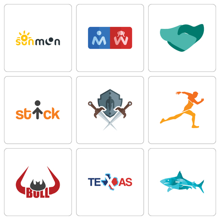 Set Of 9 simple editable icons such as sharks, texas, bull horn, running club, shield and sword, stick figure, hand shaking, restroom, sun moon, can be used for mobile, web