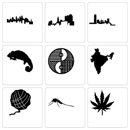 Set Of 9 simple editable icons such as marijuana leaf, mosquito, yarn ball, india, yin yang, chameleon, oklahoma, ohio, minnesota, can be used for mobile, web