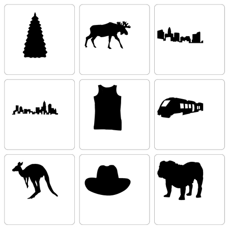 Set Of 9 simple editable icons such as bulldog, cowboy hat, kangaroo, train, tank top, north carolina state, moose, christmas tree, can be used for mobile, web Illustration