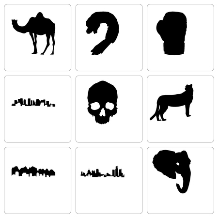 Set Of 9 simple editable icons such as elephant head, michigan state, utah, cheetah, skull, norway, boxing glove, shrimp, camel, can be used for mobile, web