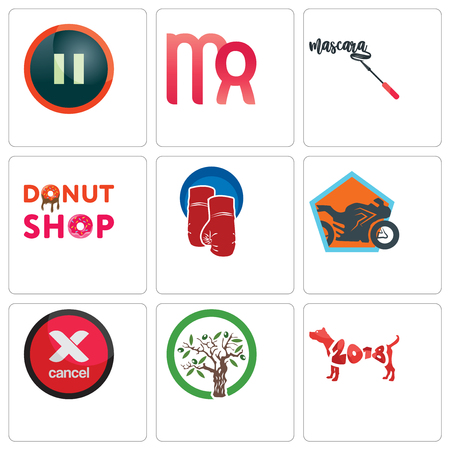 Set Of 9 simple editable icons such as year of the dog, olive tree, cancel, motorcycle shop, boxing gloves, donut mascara, virgo, pause, can be used for mobile, web Stockfoto - 102146625