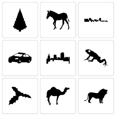 Set Of 9 simple editable icons such as lion, camel, mistletoe, frog, colorado, police car, cuba, zebra, christmas tree, can be used for mobile, web