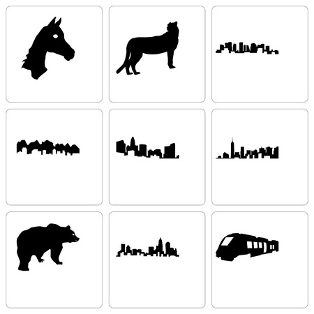 Set Of 9 simple editable icons such as train, north carolina state, bear, utah, norway, cheetah, horse face, can be used for mobile, web