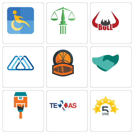 Set Of 9 simple editable icons such as 5 star, texas, home paint, hand shaking, basketball tournament, 3 triangle, bull horn, scales of justice, disability, can be used for mobile, web