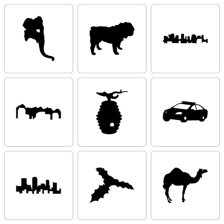 Set Of 9 simple editable icons such as camel, mistletoe, colorado, police car, beehive, utah, norway, bulldog, elephant head, can be used for mobile, web Illustration