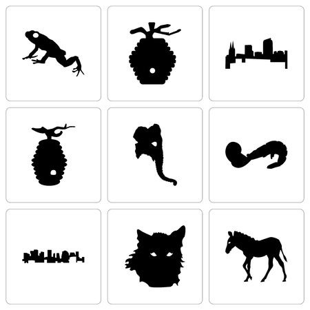 Set Of 9 simple editable icons such as zebra, wolf face, norway, shrimp, elephant head, beehive, colorado, frog, can be used for mobile, web