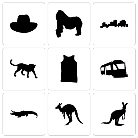 Set Of 9 simple editable icons such as kangaroo, alligator, train, tank top, cheetah, louisiana, gorilla, cowboy hat, can be used for mobile, web
