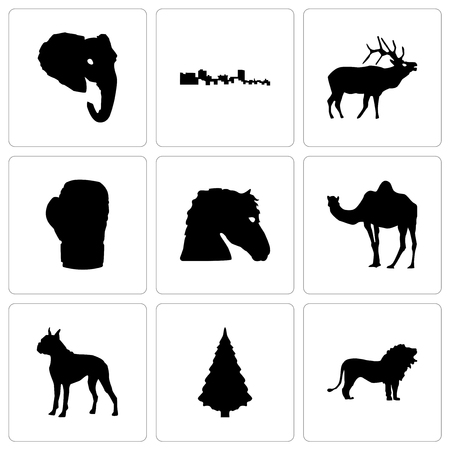 Set Of 9 simple editable icons such as lion, christmas tree, boxer, camel, horse face, boxing glove, elk, cuba, elephant head, can be used for mobile, web Vettoriali