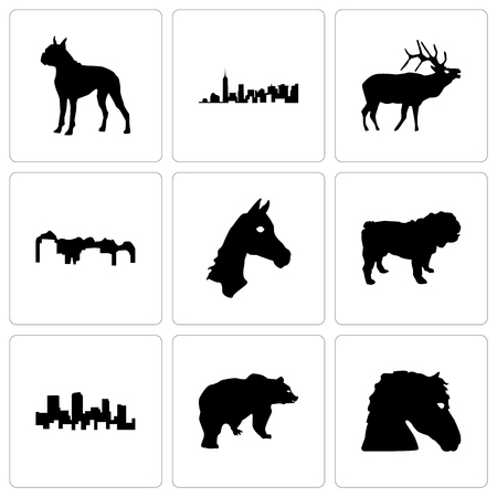 Set Of 9 simple editable icons such as horse face, bear, colorado, bulldog, utah, elk, boxer, can be used for mobile, web Illustration