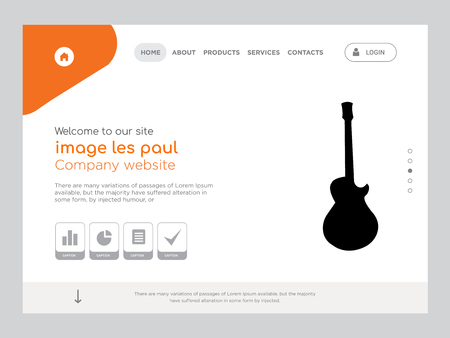 Quality One Page image les paul Website Template, Modern Web Design with flat UI elements and landscape illustration, ideal for landing page  イラスト・ベクター素材