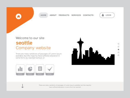 Quality One Page seattle Website Template Vector Eps, Modern Web Design with flat UI elements and landscape illustration, ideal for landing page