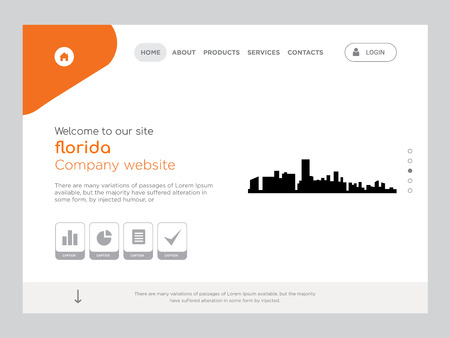 Quality One Page florida Website Template Vector Eps, Modern Web Design with flat UI elements and landscape illustration, ideal for landing page