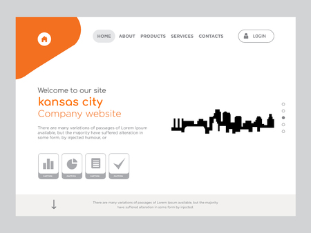Quality One Page kansas city Website Template, Modern Web Design with flat UI elements and landscape illustration, ideal for landing page  イラスト・ベクター素材