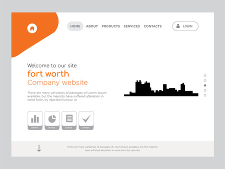 Quality One Page fort worth Website Template Vector Eps, Modern Web Design with flat UI elements and landscape illustration, ideal for landing page Foto de archivo - 102282953