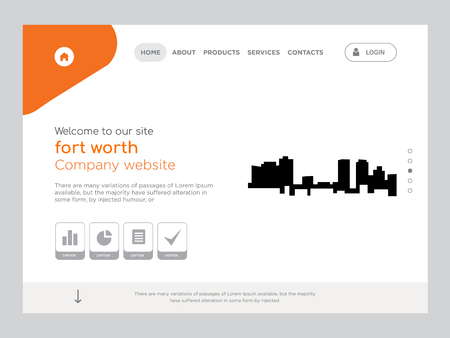 Quality One Page fort worth Website Template Vector Eps, Modern Web Design with flat UI elements and landscape illustration, ideal for landing page Foto de archivo - 102412266