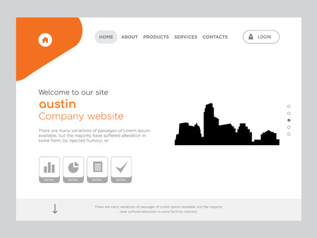Quality One Page austin Website Template Vector Eps, Modern Web Design with flat UI elements and landscape illustration, ideal for landing page Illusztráció