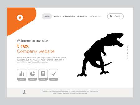 Quality One Page t rex Website Template Vector Eps, Modern Web Design with flat UI elements and landscape illustration, ideal for landing page
