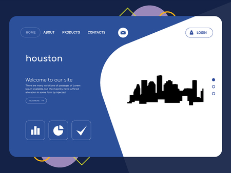 Quality One Page houston Website Template Vector Eps, Modern Web Design with flat UI elements and landscape illustration, ideal for landing page