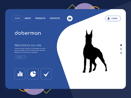 Quality One Page doberman Website Template Vector Eps, Modern Web Design with flat UI elements and landscape illustration, ideal for landing page Ilustração