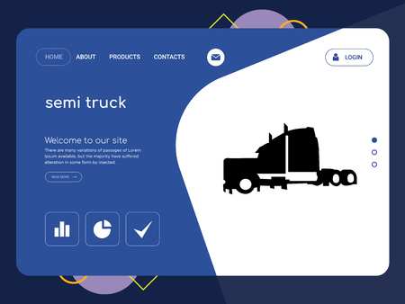 Quality One Page semi truck Website Template Vector Eps, Modern Web Design with flat UI elements and landscape illustration, ideal for landing page