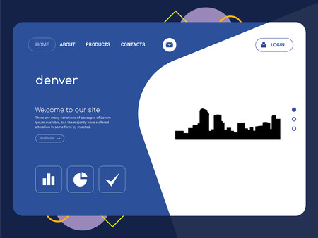 Quality One Page denver Website Template Vector Eps, Modern Web Design with flat UI elements and landscape illustration, ideal for landing page