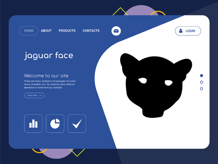 Quality One Page jaguar face Website Template Vector Eps, Modern Web Design with flat UI elements and landscape illustration, ideal for landing page