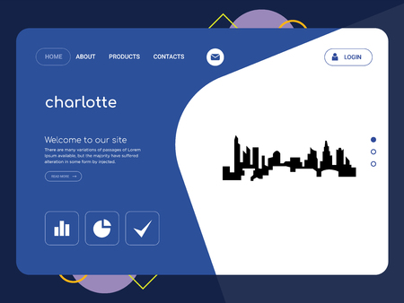 Quality One Page charlotte Website Template Vector Eps, Modern Web Design with flat UI elements and landscape illustration, ideal for landing page