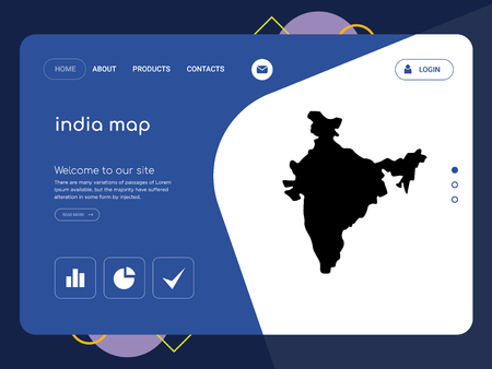 Quality One Page india map Website Template Vector Eps, Modern Web Design with flat UI elements and landscape illustration, ideal for landing page Vettoriali