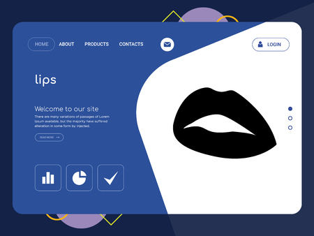 Quality One Page lips Website Template Vector Eps, Modern Web Design with flat UI elements and landscape illustration, ideal for landing page