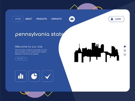 Quality One Page pennsylvania state Website Template Vector Eps, Modern Web Design with flat UI elements and landscape illustration, ideal for landing page