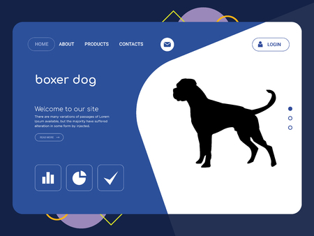 Quality One Page boxer dog Website Template Vector Eps, Modern Web Design with flat UI elements and landscape illustration, ideal for landing page