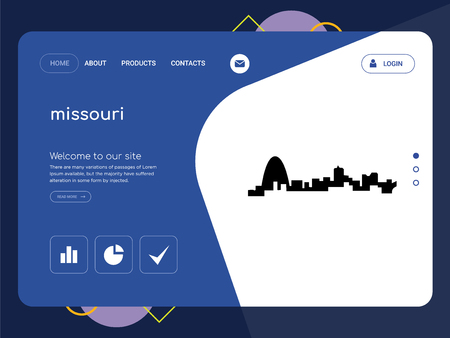 Quality One Page missouri Website Template Vector Eps, Modern Web Design with flat UI elements and landscape illustration, ideal for landing page