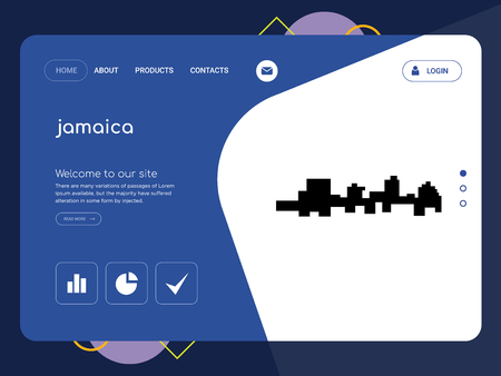 Quality One Page jamaica Website Template Vector Eps, Modern Web Design with flat UI elements and landscape illustration, ideal for landing page